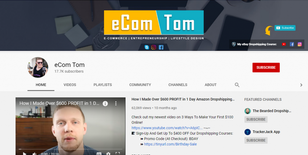 Dropshipping Youtube Channels ECom Tom