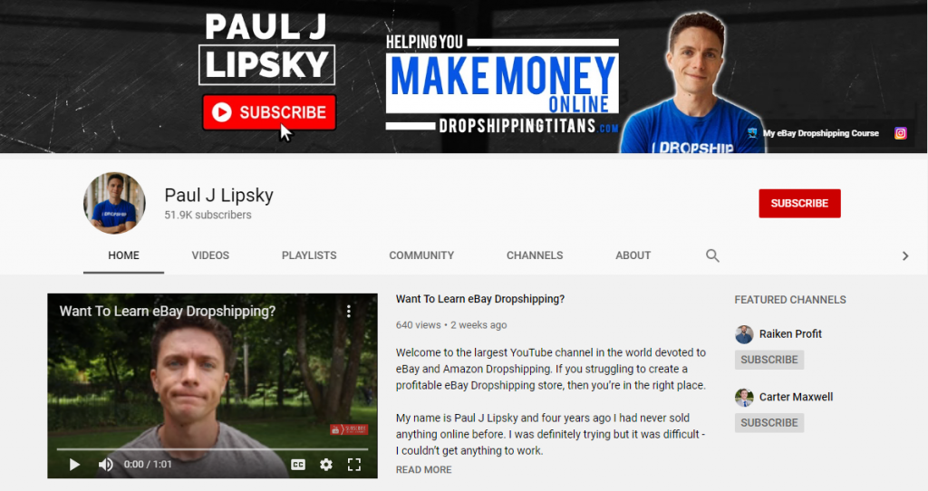 Dropshipping Youtube Channels Paul J Lipsky