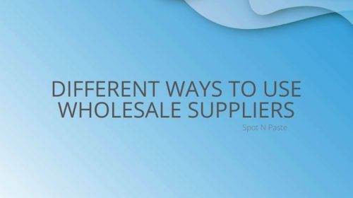 Different ways to use WHolesale Suppliers